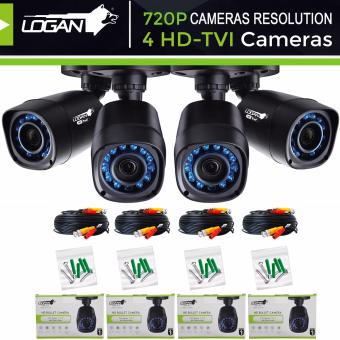 Logan L-DX421M HD TVI Plastic Bullet CCTV Weatherproof IP66 Indoor/Outdoor 24IR LED 720P 1.0-Megapixel with 4pcs 60ft (18.3m) Video Cable Night Vision Replacement/Extra Cameras (Set of 4)-Only for LOGAN XVR KIT or TVI-DVI Price Philippines