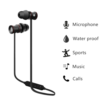Harga EXCELVAN BTH-828 Bluetooth Sweatproof Stereo Running Headphones (Black)