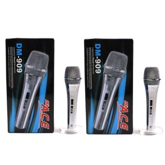 Harga Ace AC-909 Professional Uni-directional Dynamic Legendary Vocal Wired microphone Set of 2 (Silver)