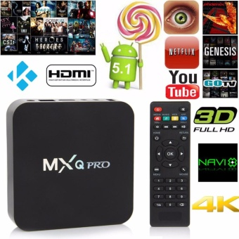 Harga MXQ Pro 4-K Ultra HD TVBox Wireless Wifi Quad Core Android Lolipop 5.1 Smart Streaming Media Player (Black)