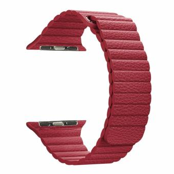 Harga Luxury Leather Loop Magnetic 42mm Watchband Bracelet Strap for Apple Watch Series 1 2 (Red)