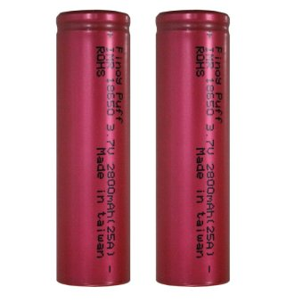 Pinoy Puff IMR18650 25A Flat Top Battery (Red) Set of 2 Price Philippines