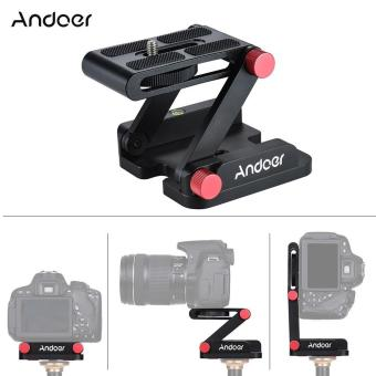 Andoer New Z-shaped Aluminum Alloy Foldable Camera Camcorder Desktop Holder Quick Release Plate Tilt Head for Nikon Canon Sony Pentax DSLR Camera Video Track Slider Tripod Film Making Macrophotography - intl Price Philippines