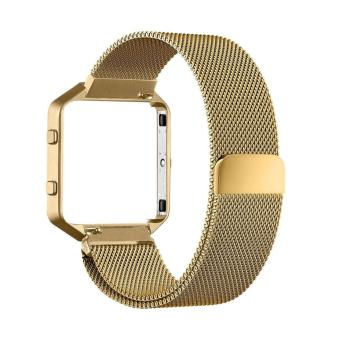 Harga Luxury Milanese Loop Magnetic Stainless Steel Watchband Bracelet Strap for Fitbit Blaze (Gold)