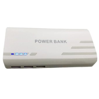 Pinoy Puff PF-102 20000mAh 3-Port USB Smart Power Bank for Smartphones and Tablet with LED Light (White) Price Philippines