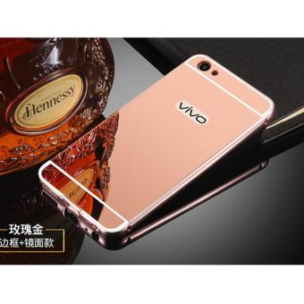 Harga Metal Frame Mirror Back Cover Case For VIVO V5 / VIVO Y67 (Rose Gold) - intl