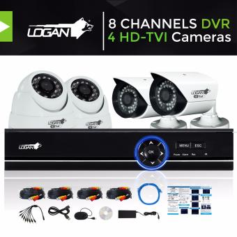Logan L-DX8221M-ND Video Security System with All in One HD DVR 8CH 1080N and 4pcs HD TVI Metal CCTV Cameras 720P 1.0 Megapixel Weatherproof IP66 Night Vision Smartphone View (No HDD Included) Price Philippines