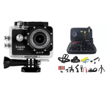 Kogan W9 HD1080P 2.0Inch Screen 12MP Wifi Action Camera (Black) With Camera Accessories Kit 26-in-1 Set with Case for GoPro Hero 4 3+ 2 SJCAM Price Philippines