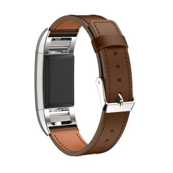 Replacement Leather Wristband Bracelet Strap Band for Fitbit Charge 2 Smart Watch Accessories(No Tracker) - intl Price Philippines