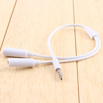 3.5mm AUX Audio Mic Splitter Cable Earphone Headphone Adapter(White) Price Philippines