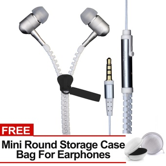 Sound Bytes Super Bass Zipper In-Ear Earphones (White) with FREE Mini Round Storage Case Bag For Earphones Price Philippines