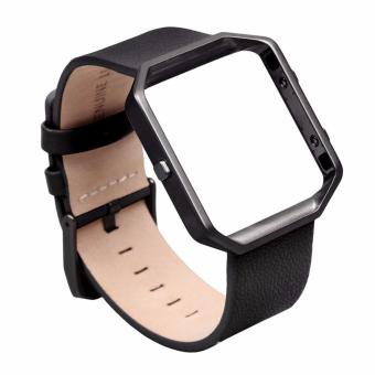 Harga Fitbit Blaze Luxury Classic Genuine Leather Watchband Bracelet Strap with Frame for Fitbit Blaze (Black)