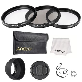 Andoer 49mm Lens Filter Kit(UV+CPL+Star+8) with Lens Accessories Price Philippines