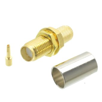 Harga Fliegend 1pce SMA female bulkhead crimp RF connector for RG-8X LMR240 RG8X jack center - Intl