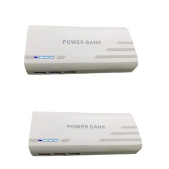 Pinoy Puff PF-102 20000mAh 3-Port USB Smart Power Bank for Smartphones and Tablet with LED Light (White) Set of 2 Price Philippines