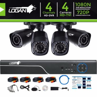 Logan L-DXP441M-ND Video Security System with All in One HD DVR 4CH 1080N and 4pcs HD TVI Plastic Bullet CCTV Cameras 720P 1.0 Megapixel Weatherproof IP 66 Night Vision Smartphone View (No HDD Included) Price Philippines