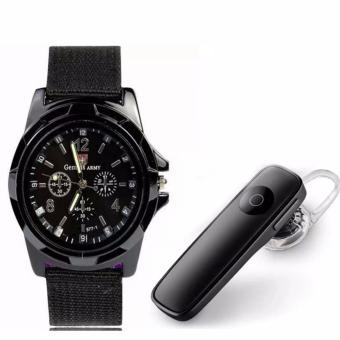 Harga M165 Bluetooth V4.0 Stereo Smartphone Headset for iphone Android (Black) with GEMIUS ARMY Military Sport Style Army Men's Black Canvas Strap Watch