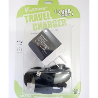 Vpower 2 USB Port FastCharger 2.1A Output with detachable microusb cable Price Philippines