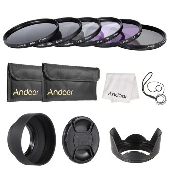 Andoer 67mm Lens Filter Kit UV+CPL+FLD+ND(ND2 ND4 ND8) with Carry Pouch / Lens Cap / Lens Cap Holder / Tulip & Rubber Lens Hoods / Cleaning Cloth Outdoorfree - INTL Price Philippines