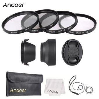 Andoer 58mm Lens Filter Kit (UV + CPL + Star+8 + Close-up+4 ) with Lens Cap + Lens Cap Holder + Tulip & Rubber Lens Hoods + Cleaning Cloth Price Philippines