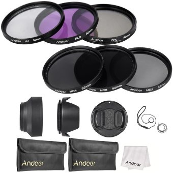 Andoer 52mm Lens Filter Kit UV+CPL+FLD+ND(ND2 ND4 ND8) with Carry Pouch / Lens Cap / Lens Cap Holder / Tulip & Rubber Lens Hoods / Cleaning Cloth Price Philippines