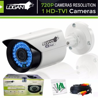 Logan LBX1M HD-TVI Metal Bullet Cameras 720P 1MP with 60ft (18.3m) Video Cable, Weatherproof IP 66 Indoor/ Outdoor, 36IR LED, Night Vision----ONLY for LOGAN XVR KIT or TVI-DVR(White) Price Philippines