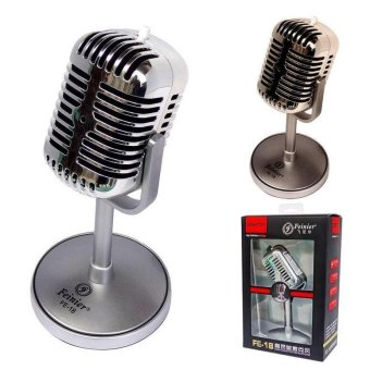 Harga Vintage Professional Wired Classic Microphone Hight Quality Deluxe Metal Vocal Old Style Ktv Mic for Computer/Conference/KTV MIC (Silver)