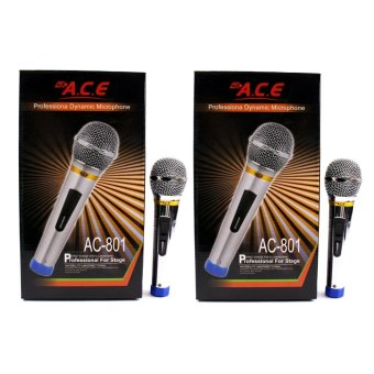 Harga Ace AC-801 Professional Stage Uni-directional Dynamic Legendary Vocal Wired Microphone Set of 2 (Silver)