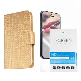 Harga PU Leather Glitz Cover Case for Samsung Galaxy Core Prime (Gold) with Free Miirror Screen Protector