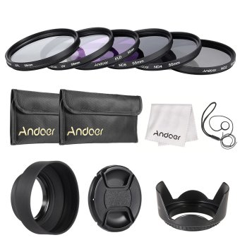 Andoer 55mm Lens Filter Kit UV+CPL+FLD+ND(ND2 ND4 ND8) with Carry Pouch / Lens Cap / Lens Cap Holder / Tulip & Rubber Lens Hoods / Cleaning Cloth Outdoorfree - INTL Price Philippines