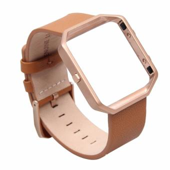 Harga Fitbit Blaze Luxury Classic Genuine Leather Watchband Bracelet Strap with Frame for Fitbit Blaze (Brown)