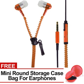 Sound Bytes Super Bass Zipper In-Ear Earphones (Orange) with FREE Mini Round Storage Case Bag For Earphones Price Philippines