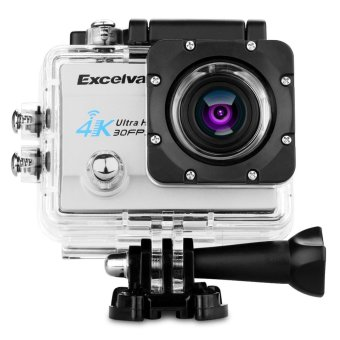 Harga Excelvan Q8 2.0inch WiFi Action Camera Sports Cam 30m Waterproof With 170° Wide Lens 4K 30FPS 16MP H.264 EU Plug (Silver)--PI