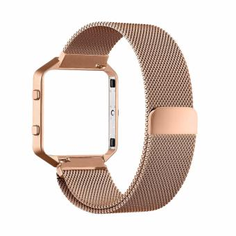 Harga Luxury Milanese Loop Magnetic Stainless Steel Watchband Bracelet Strap for Fitbit Blaze (Rose Gold)