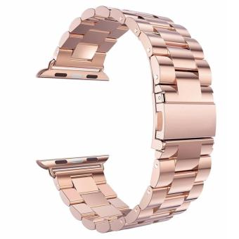 Harga Luxury HOCO Stainless Steel 42mm Watchband Bracelet Strap for Apple Watch Series 1 2 (Rose Gold)