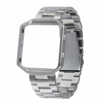 Harga Fitbit Blaze Luxury HOCO Stainless Steel Watchband Bracelet Strap with Frame for Fitbit Blaze (Silver)