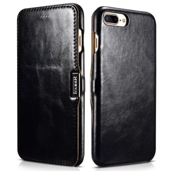 icarer Luxury Vintage Series Premium Genuine Real Leather Case (Side-open) For iPhone 7 plus (Black) - intl Price Philippines