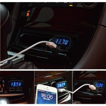In 1 3.1A Dual USB Car Charger Adapter Voltmeter Ammeter Tester Blue LCD - intl - 5