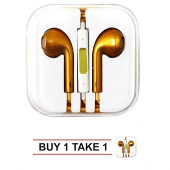 In-Ear Headphone For Iphone Set Of 2 (Gold) With Free Vivo In-EarWired Headset Earphone (White)