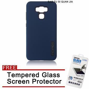 Incipio Silicone / TPU Back Case for Asus Zenfone 3 Max 5.5''/ZC553KL (Dark Blue) with Free Tempered Glass Screen Protector
