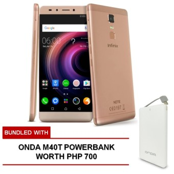 Infinix Note 3 Pro 3GB RAM 16GB ROM (Palm Gold) bundled with FREE Onda M40T Powerbank worth Php 700 Price Philippines