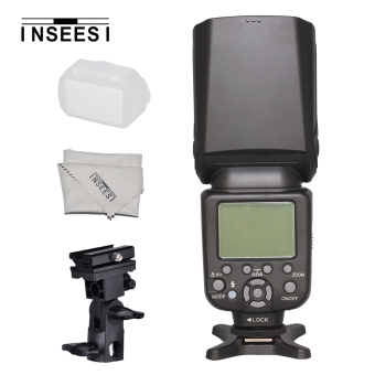 INSEESI IN-586EX II Professional Speedlite TTL Camera Flash with High Speed Sync + B Type Flash Shoe Umbrella Holder Bracket + INSEESI Lens Cloth for Canon and Nikon Digital SLR Cameras