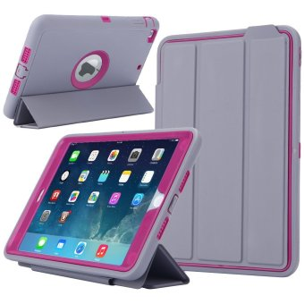 Ipad Mini 4 Case, PENNY Ipad Mini Protective [3 In1] PC + TPU +Leather Hybrid [Stand] Shockproof Cover for Apple Ipad Mini4(Gray+Rosered) - intl