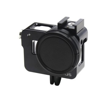 JQAIQ CNC Aluminum Alloy Skeleton Rugged Cage Protective Frame Casefor GoPro Hero 5 Black with 52mm UV Lens Accessories - intl
