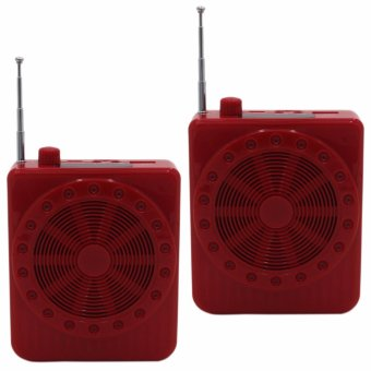 K150 Multi-Function Sling Band Loudspeaker Megaphone with Lapel Mic(Red) Set Of 2
