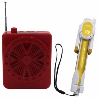 K150 Multi-Function Sling Band Loudspeaker Megaphone with Lapel Mic(Red) With WXY