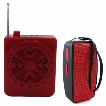 K150 Multi-Function SlingBand LoudSpeaker MegaPhone with Lapel Mic(Red) With N10 U