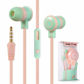 KeeKa L-1 Lollipop Lovely Me Earphones Holder In-Ear Headphones(Pink/Green)