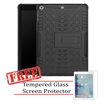 "Kickstand Extreme Protection Rubber Armor Case for Apple iPad 2017(9.7"") with FREE Tempered Glass Screen Protector (Black) Price Philippines"