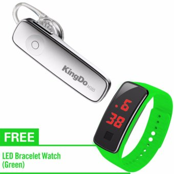 KingDo Brand M165 Bluetooth Earphone(White) with Free LED Watch